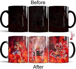 One Piece Anime Luffy Zoro Sanji Ace Changing Coffee Mug Heat-sensitive Reactive Ceramic Cup Coffee (03)