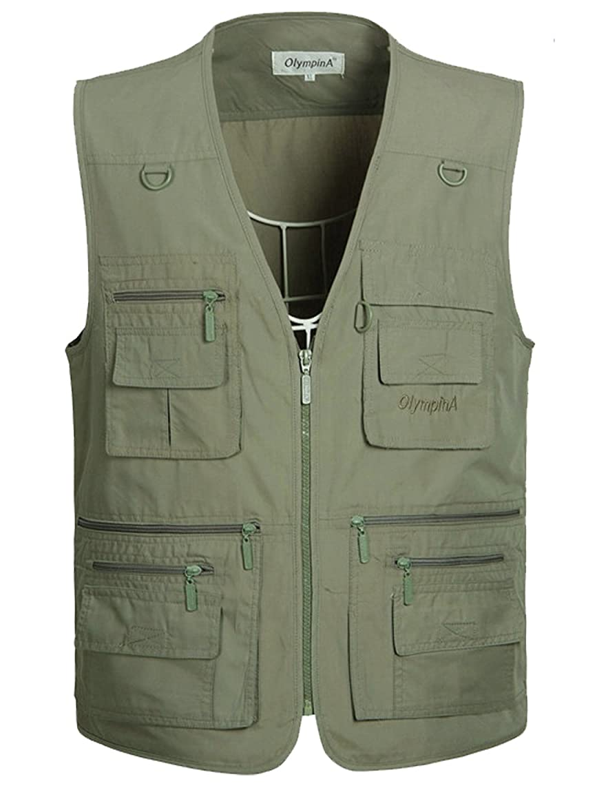 Flygo Men's Summer Outdoor Work Safari Travel Fishing Vest with 16 Pockets Khaki