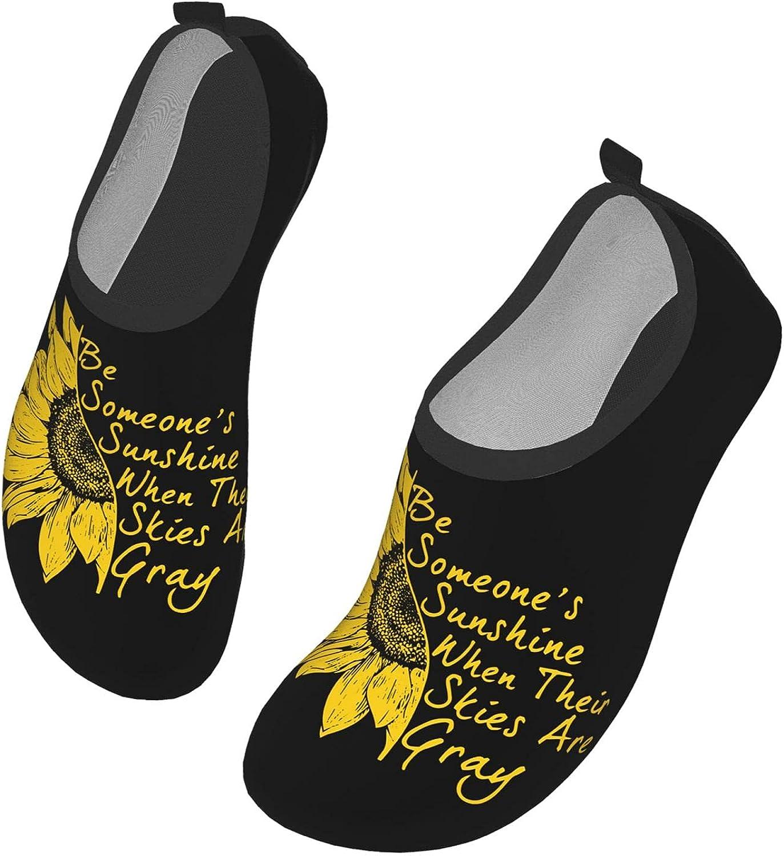 Women Men Water Shoes Sunflower Sunshine Non Slip Aqua Socks Slip On for Pool Beach Yoga Aqua Sports Shoes