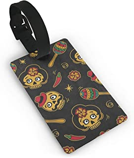 Luggage Tags Sugar Skull Music Gutar Travel Name Tag Holder Labels