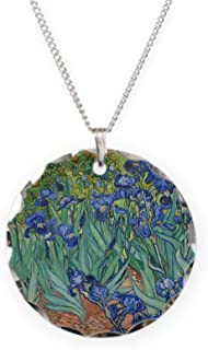 Irises Vincent Van Gogh Repr - Charm Necklace with Round Pendant