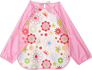 Floral Baby Bib with Sleeves - Pink