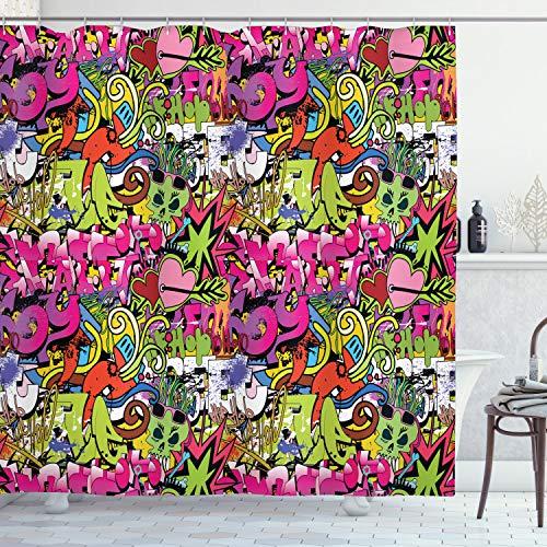 ABAKUHAUS urban Graffiti Duschvorhang, Durchbohrte Herzen, mit 12 Ringe Set Wasserdicht Stielvoll Modern Farbfest & Schimmel Resistent, 175x180 cm, Mehrfarbig