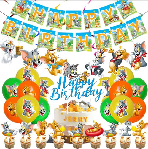 Tom and Jerry Birthday Party Supplies Pack 44pcs Includes Birthday banner,Cake topper,Cupcake topper,Balloons,spiral for the Tom and Jerry Birthday Party Decorations