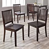 MISC Slat Espresso Rubberwood Dining Chairs (Set of 4) Brown Wood Stained
