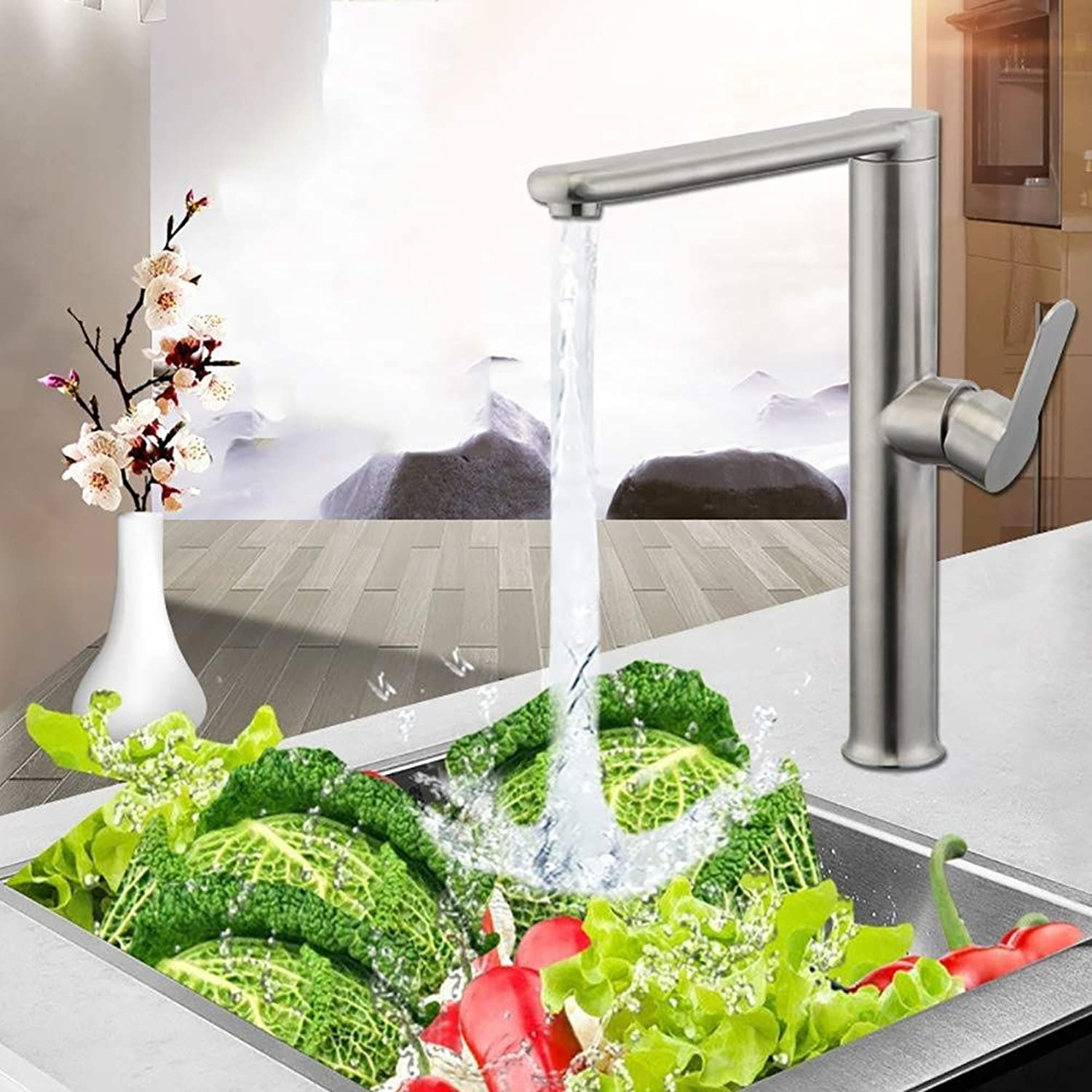 Honcx Faucet Water Tap, Flat Tube 360°redation 304 Stainless Steel Hot and Cold Mixing, Kitchen Sink Vegetables Basin