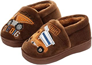 YOHA Boys Girls Unicorn Cartoon Cozy Warm Home Slippers Anti-Slip Toddler Slippers Kids Slip on Fuzzy Bedroom Slippers