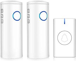 Timbre inalámbrico, USB y batería, IP55, impermeable, 700 pies de largo alcance con 4 niveles de volumen, 39 campanillas, ...