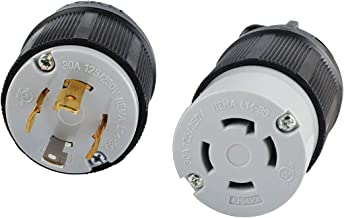 Wadoy L14-30 L14-30R Connector and L14-30P Plug Set for 30A, 125/250V, 7500W Generators