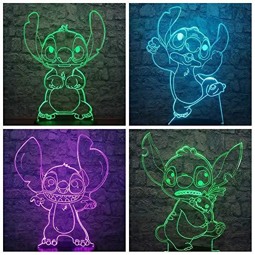 Cartoon Kawaii Stich 3D visuelle Lampe Farbe Baby Nachttisch Schlaf Nachtlicht Dekor Kind Mädchen Weihnachten Geburtstagsgeschenk Spielzeug