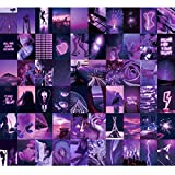 Wall Collage Kit 60 Pics by Aesthetic Atmosphere for Wall Aesthetic, 4x6 inch Neon Purple Pictures for Room Decor, Boujee Bedroom Decoration Photos for Teen Girls, Cute VSCO Trendy Dorm Posters