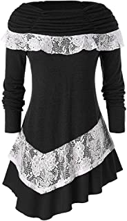 iLOOSKR Christmas Plus Size Tops Wome Fashion Long Sleeve Solid Color Lace Splice Irregular Tops