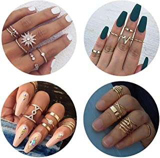 eb6093128 QXFQJT Knuckle Ring Set Vintage Stackable Midi Finger Rings Set for Women  Girl Hollow Carved Flowers