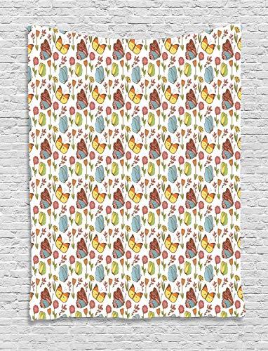 ABAKUHAUS Floral Tapiz de Pared, Planta De Rosa Mosqueta Y Peony, para el Dormitorio Apto Lavadora y Secadora Estampado Digital, 100 x 150 cm, Multicolor