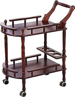 Chariots de service de cuisine en bois massif Chariot à barres roulantes avec étagères de rangement à 2 niveaux Chariot d'...