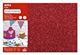 APLI Kids - Bolsa goma EVA purpurina roja, 400x600x2mm 3 hojas