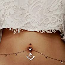 YESMAEA Rhinestone Belly Button Ring Navel Ring Belly Button Bar Waist Chain Body Piercing Jewelry White