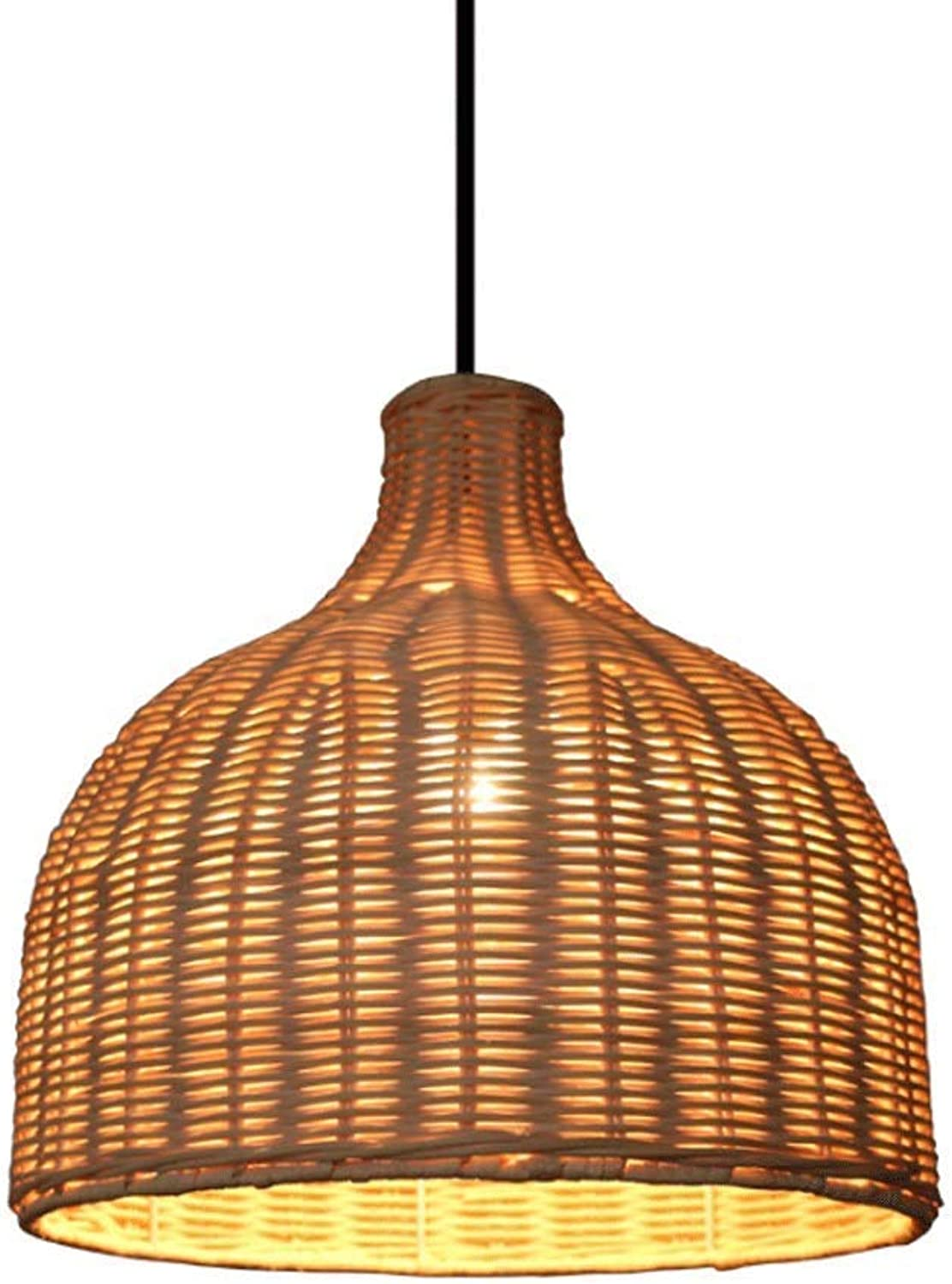 X-DENG Wicker Rattan Woven Lamp, Bambus Kronleuchter Retro Wicker Lamp Kronleuchter Restaurant Tea Room Deckenleuchte Bauernhaus Kronleuchter (Größe   9.8inch)