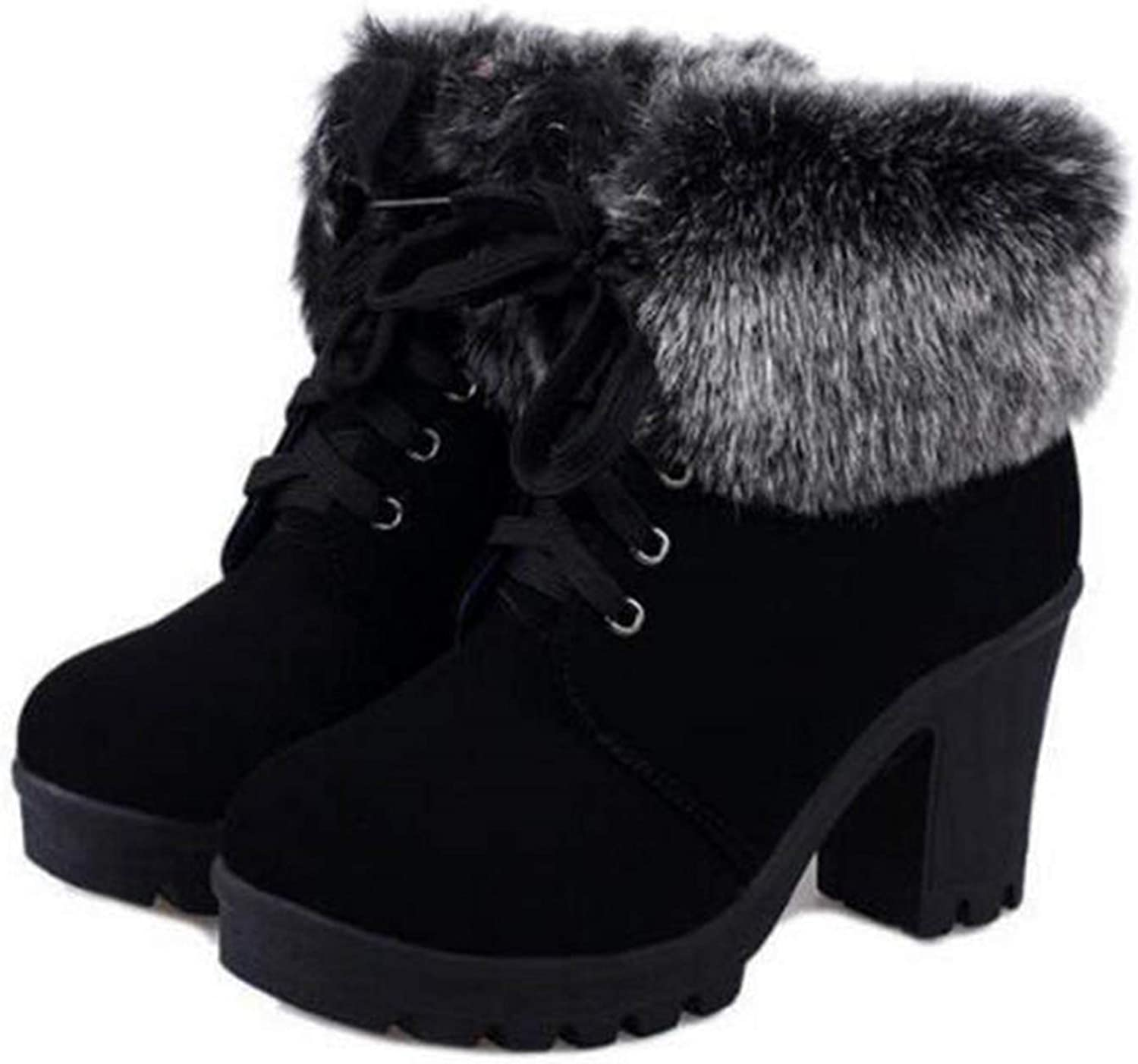 Autumn Winter Ankle Boots Women Fur Cuff Thick Heel Motorcycle Combat Boots WBS226