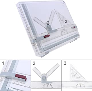A3 Drawing Board Table, Multifuctional Ergonomic Designed Adjustable Angle Rulers School Stationary Architectural Drawing Measuring System Angle Parallel Motion Drawing Board