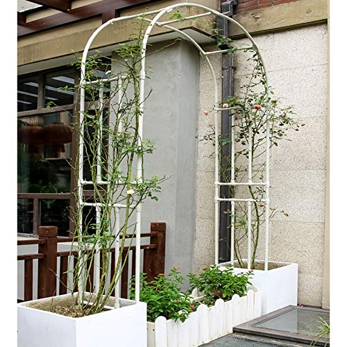 2.4M Metal Outdoor Garden Arch, Garden Arbor for Climbing Plants, Wedding Decoration, Spiral Surface (Black, White)