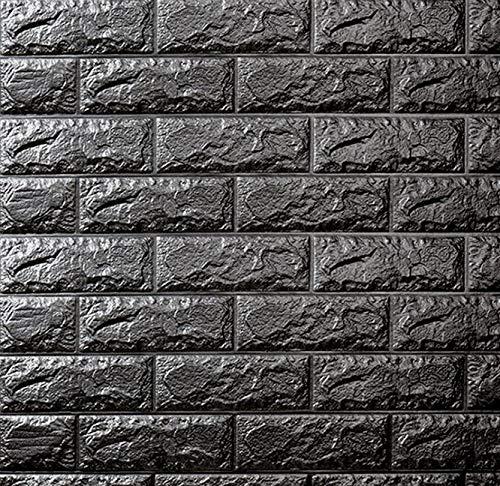 XMYING Paneles Decorativos 3D, Revestimiento de Paredes, Vinilos Decorativos, Papel Pintado 3D Efecto ladrillo para Dormitorio y salón 70 × 77cm, Negro, 15 PCS (B)