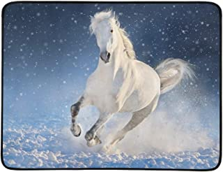White Horse Run Gallop in Winter Snow Field Pattern Portable and Foldable Blanket Mat 60x78 Inch Handy Mat for Camping Picnic Beach Indoor Outdoor Travel