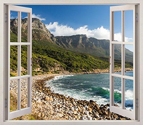 Pegatinas 3D Vinilo Ventana Varias Medidas 150x130cm   Adhesivo Incluido   Decoracion Habitación  Playa, Rocosa Panoramica y Montañas Frondosas   Multicolor   Diseño Elegante  