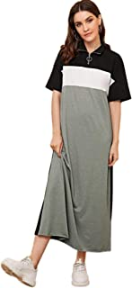 SheIn Women's Casual Loose Short Sleeve Colorblock High Neck Long Maxi T-Shirt Dresses