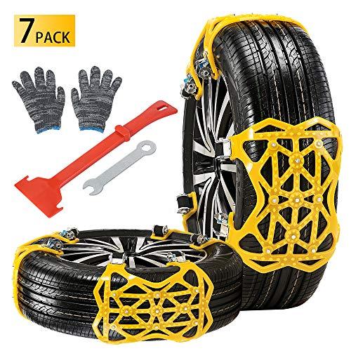 Qoosea Snow Chains 7 Pack Universal Car Anti-Skid Emergency Adjustable