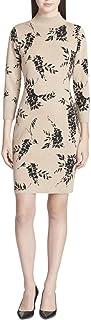 Womens Mock Neck Sweater Dress, Beige, Large