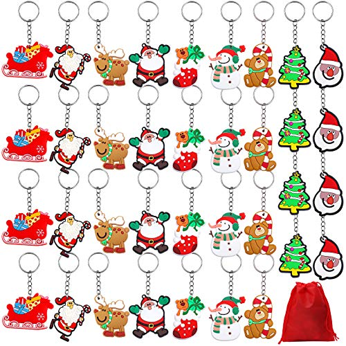 URATOT 36 Pieces Christmas Cartoon Keychain Ornaments Pendant Keychains Santa Claus Snowman Christmas Stocking Gloves Keychains with Red Velvet Storage Bag Party Favors, 9 Styles