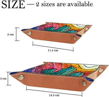 Leather Valet Tray Multi-Purpose storage box Tray Organizer Used for storage of small accessories,sunlight desert