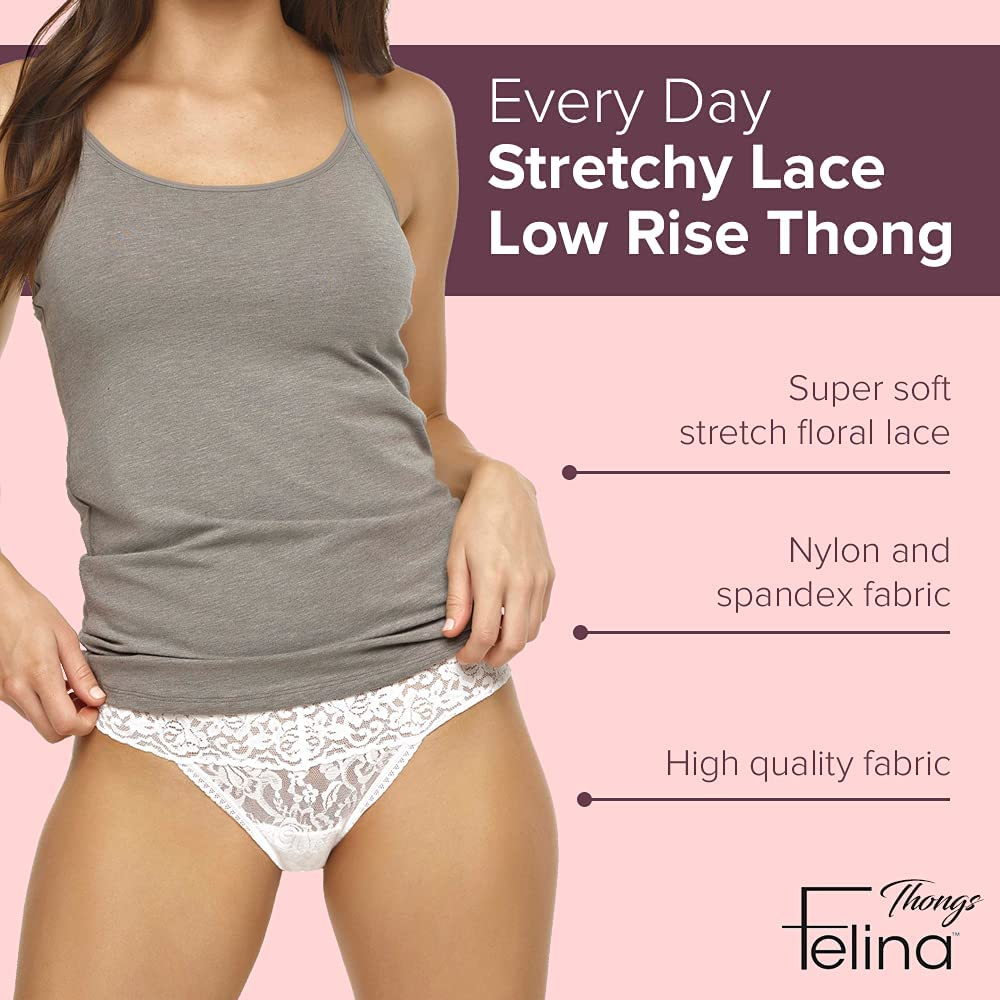 Felina Stretchy Lace Low Rise Thong - Sexy Underwear for Women, Thongs for Women, Seamless Panties for Women (4-Pack)