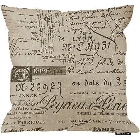 Emvency Throw Pillow Cover French Script Decorative Pillow Case Paris Home Decor Square 18x18 Inch Cushion Pillowcase Home Kitchen