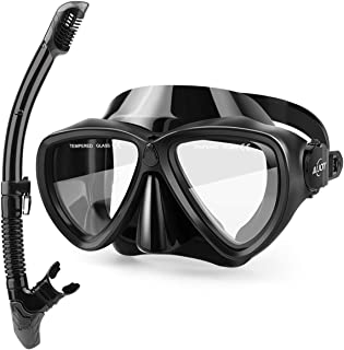 AiJoy Tempered Glass Snorkeling Set Dry Top Anti-Fog Diving Mask Snorkel Set for Adult