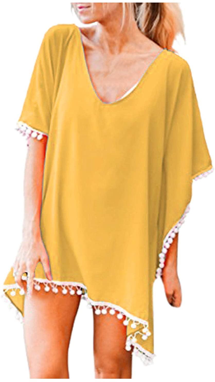 YpingLonk Women's Summer Beach Cover Ups for Women Retro Boho Beachwear Tassel Solid Beach Cover-Ups Swimsuits