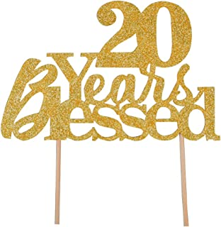20 Years Blessed Cake Topper - Happy 20th Birthday - Wedding Anniversary Party Decoration Supplies (Gold Glitter)