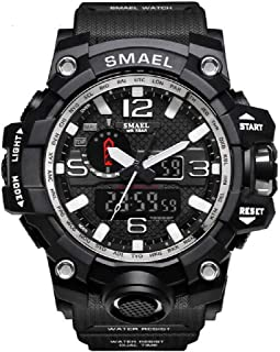Men's Watches Sports Outdoor Analog Digital Dual Display Military Multifunctional Waterproof LED Alarm Stopwatch (Silver)