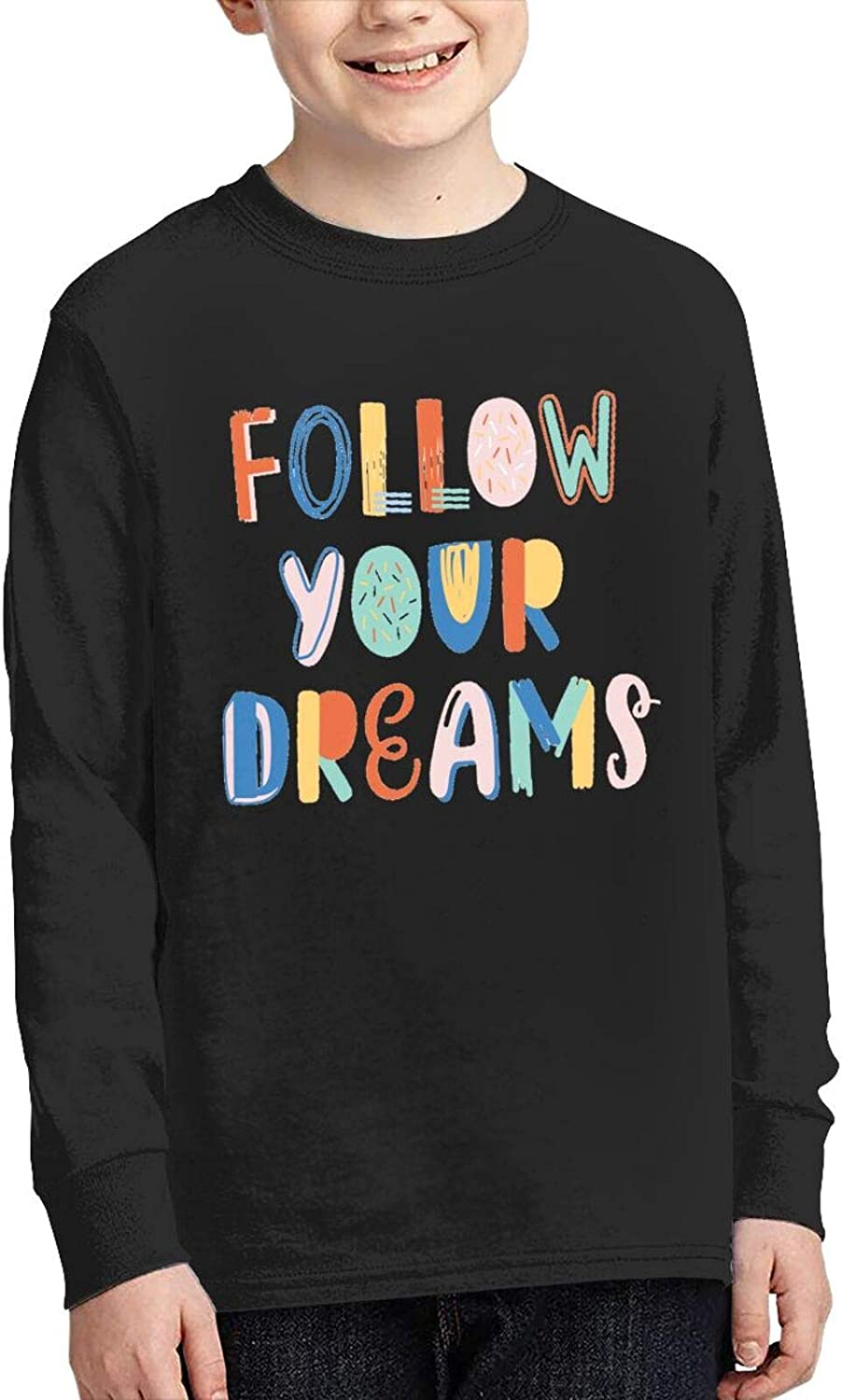 Follow Your Dreams Funny Lettering Youth Boys Girls T-Shirt Long Sleeve Cotton Tshirt Comfortableteenage Tops