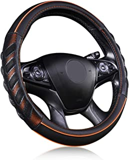 Flying Banner car Steering Wheel Cover Faux Leather Massage Universal fit 3D Honeycomb Hole Anti-Slip Sporty 15 Inches (Or...
