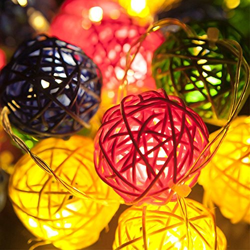 9.8 Feet 20 Rattan Ball Fairy String Lights Plug in, Flexible Romantic Warm Lighting for Home Decor (Colorful) 4