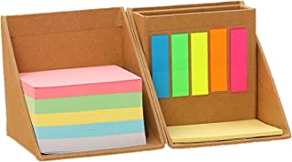 Elonglin Lot of 2 Combination Self-Stick Notes Boxs Office Tearable Sticky Notes Kraft Paper Box Set with Index Bookmarks