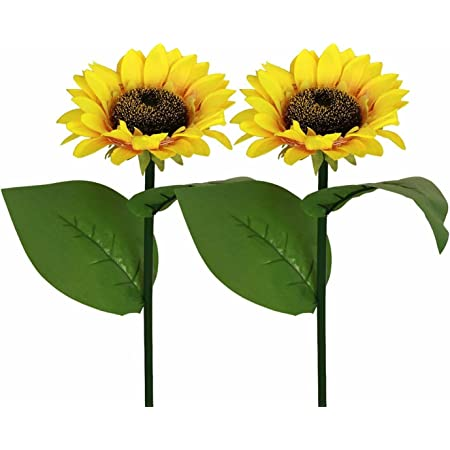 HULPPRE 2-Pack Brighter Solar Sunflower Lights Decor,20 LEDs Larger 600mah Realistic Flower Solar Garden Stake Lights,Decoration Lights for Garden,Yard,Patio,Pathway,Driveway,Lawn (2 Pack/Sunflower)