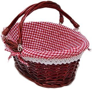 WZHZJ Wicker Basket Gift Basket Picnic Basket Candy Basket Storage Basket Wine Basket with Handle Egg Gathering Wedding Ba...