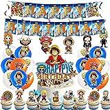 One Piece Party Supplies-Miotlsy 42pcs One Piece Decoración para Fiestas Temáticas, Kit de Decoración de Fiesta de Cumpleaños para Niños, kit de decoración de fiesta de One Piece