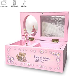 EFFIE Music Jewelry Box Storage Case with Ballerina for Little Girls, Pink