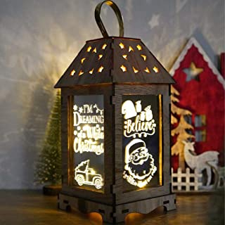 Yeahii Wooden Merry Christmas LED Light Portable Hanging Lantern Home Garden Decoration Home Holiday New Year Party Decor Gift