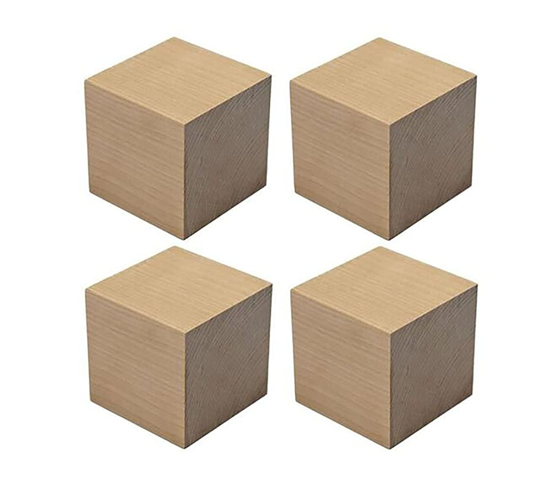 4PCS Blank Wooden Cubes Natural Unfinished Pine Wood Craft Blocks DIY Projects Baby Wood Square Blocks for Puzzle Making Crafts and Baby Shower Games (2