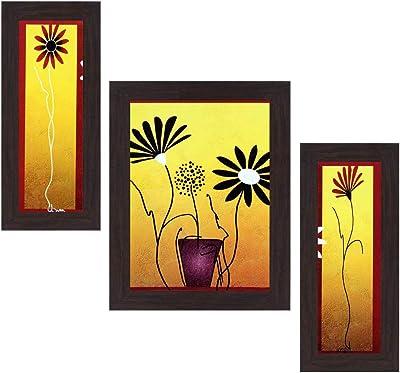 Wens Floral MDF Wall Art (30 cm x 34 cm x 1.5 cm, Set of 3, WSP-4186)